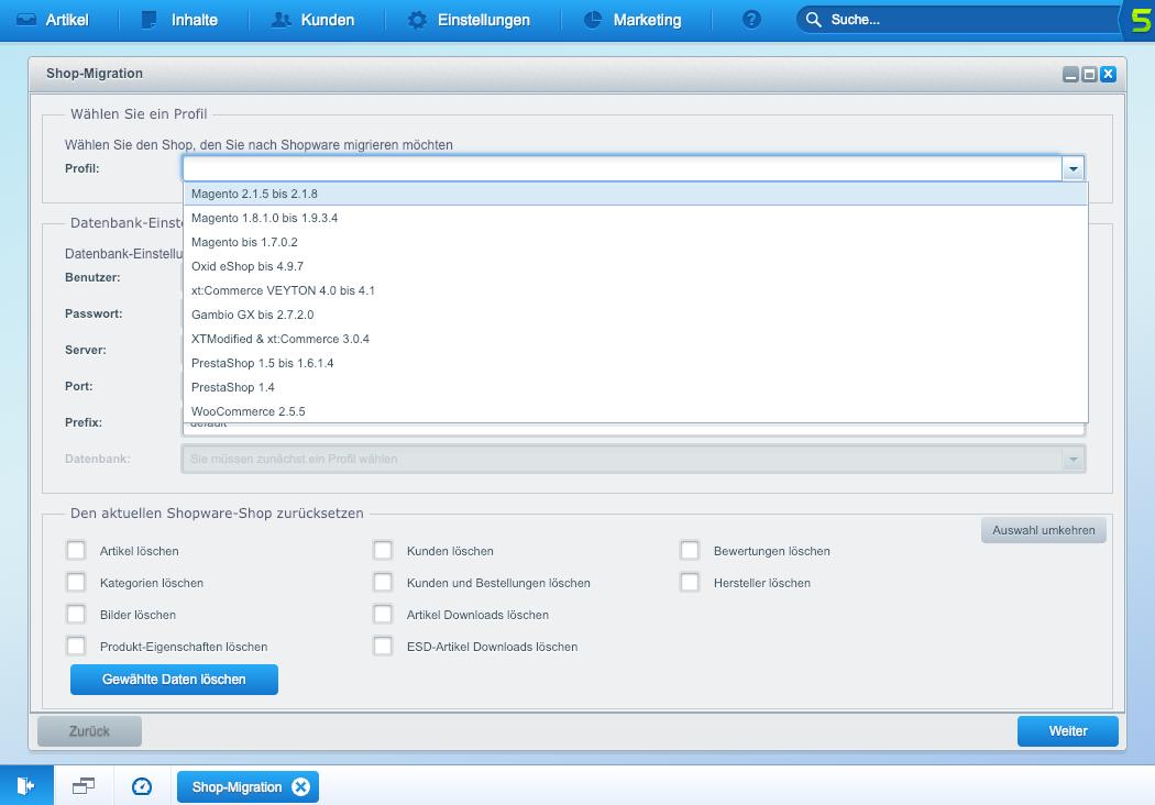 Screenshot Shopware Migration Magento Oxid xt:commerce Veyton Prestashop